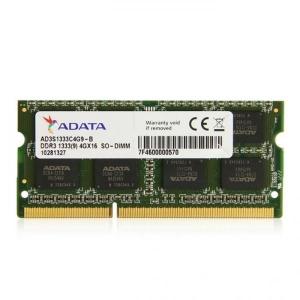 Sülearvuti So-Dimm DDR3 4GB PC3-10600/1333, 1.5V, AData, uus, garantii 5 aastat
