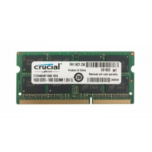 Sülearvuti SO-DIMM DDR3L 16GB PC3-12800/1600 Crucial, Low Voltage, 1,35V CL11, uus, garantii 5 aastat