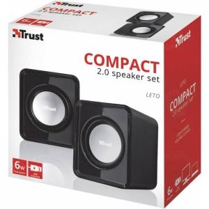 2.0 kõlarid Trust Leto/6w/3,5mm analoogpistik/USB-toide/uus, garantii  2 aastat