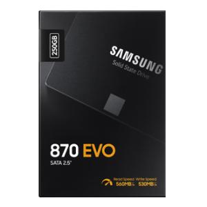"""SSD SATA 250GB 2.5"""" Samsung EVO 870 560MB/s lugemine, 530MB/s kirjutamine, uus, garantii 5 aastat"""