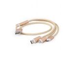 Universaalne 3-ühes laadimiskaabel Apple, mikro-USB & USB-C nutiseadmetele, Gembird, 1m, uus